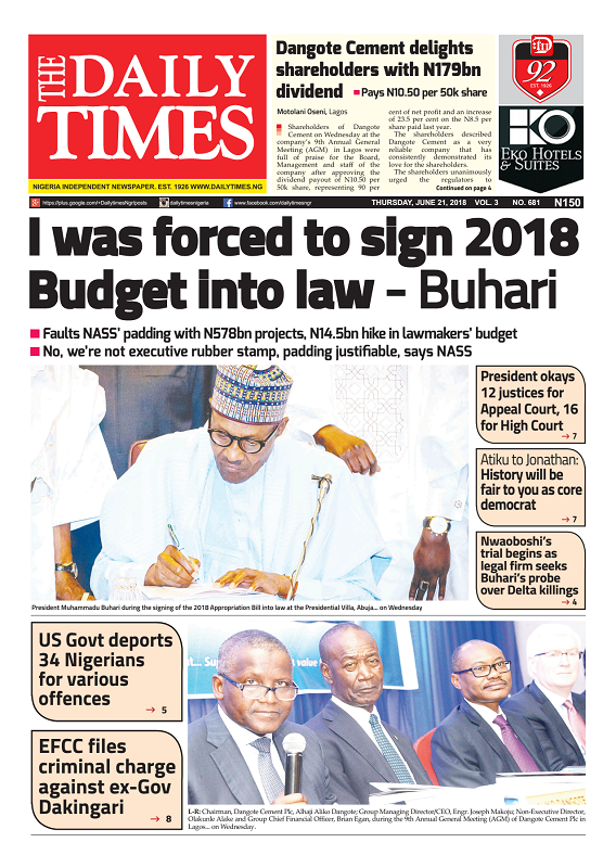 Daily Times Newspaper, Thursday, June 21, 2018