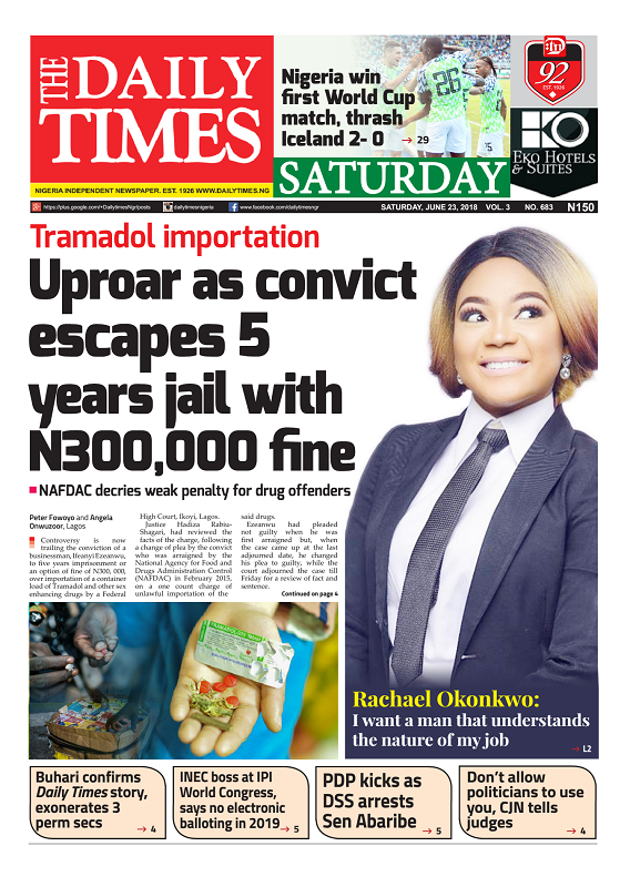 Daily Times Newspaper, Saturday, June 23, 2018