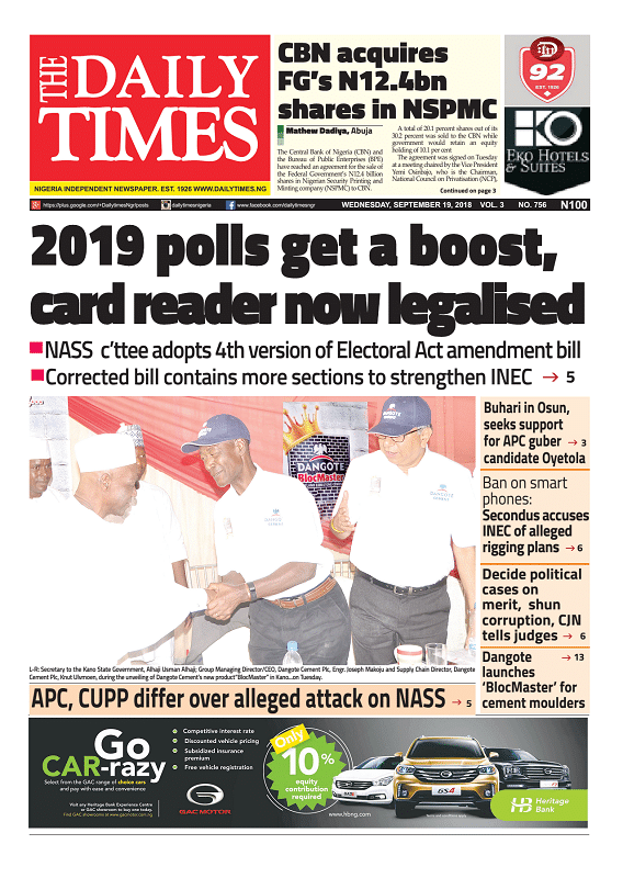 Daily Times Newspaper, Wednesday, September 19, 2018