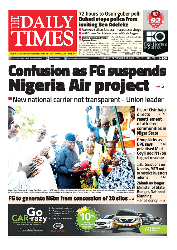 Daily Times Newspaper, Thursday, September 20, 2018