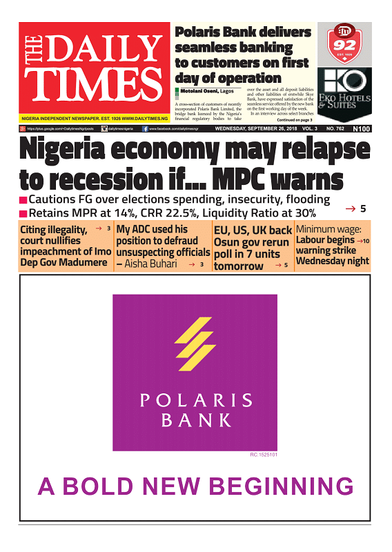 Daily Times Newspaper, Wednesday, September 26, 2018