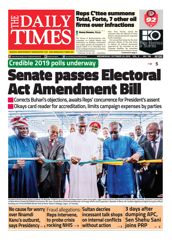 Daily Times Newspaper, Wednesday, October 24, 2018