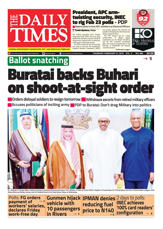 Daily Times Newspaper, Thursday, February 21, 2019