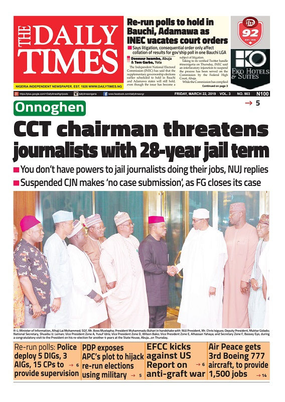 Daily Times Newspaper, Friday, March 22, 2019