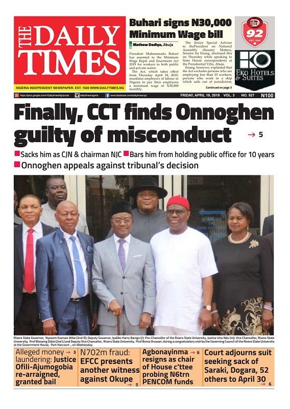 Daily Times Newspaper, Friday, April 19, 2019