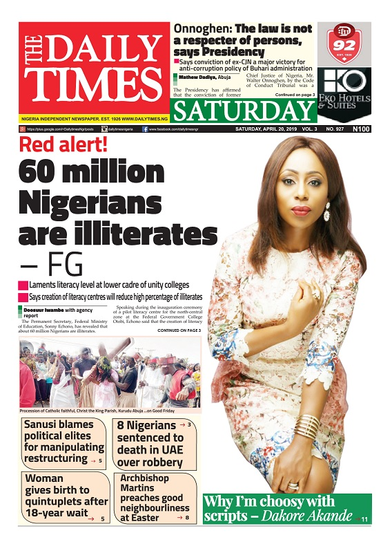 Daily Times Newspaper, Saturday, April 20, 2019