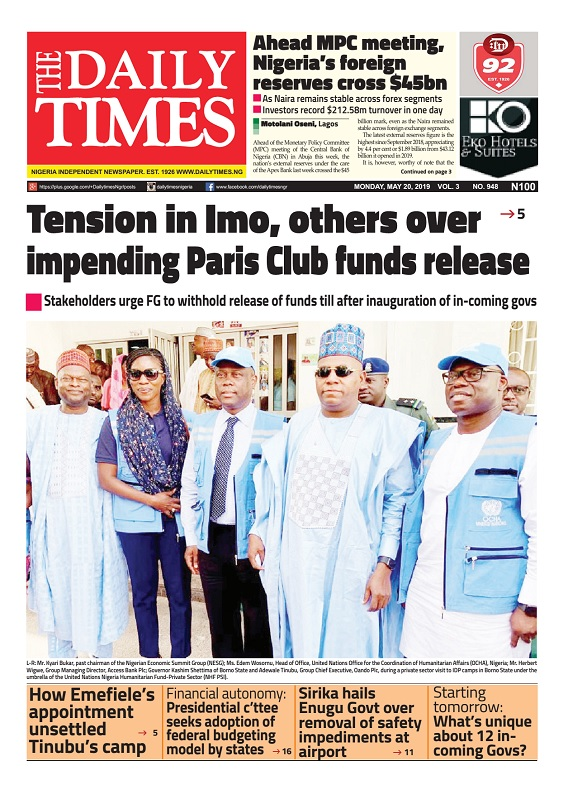 Daily Times Newspaper, Monday, May 20, 2019