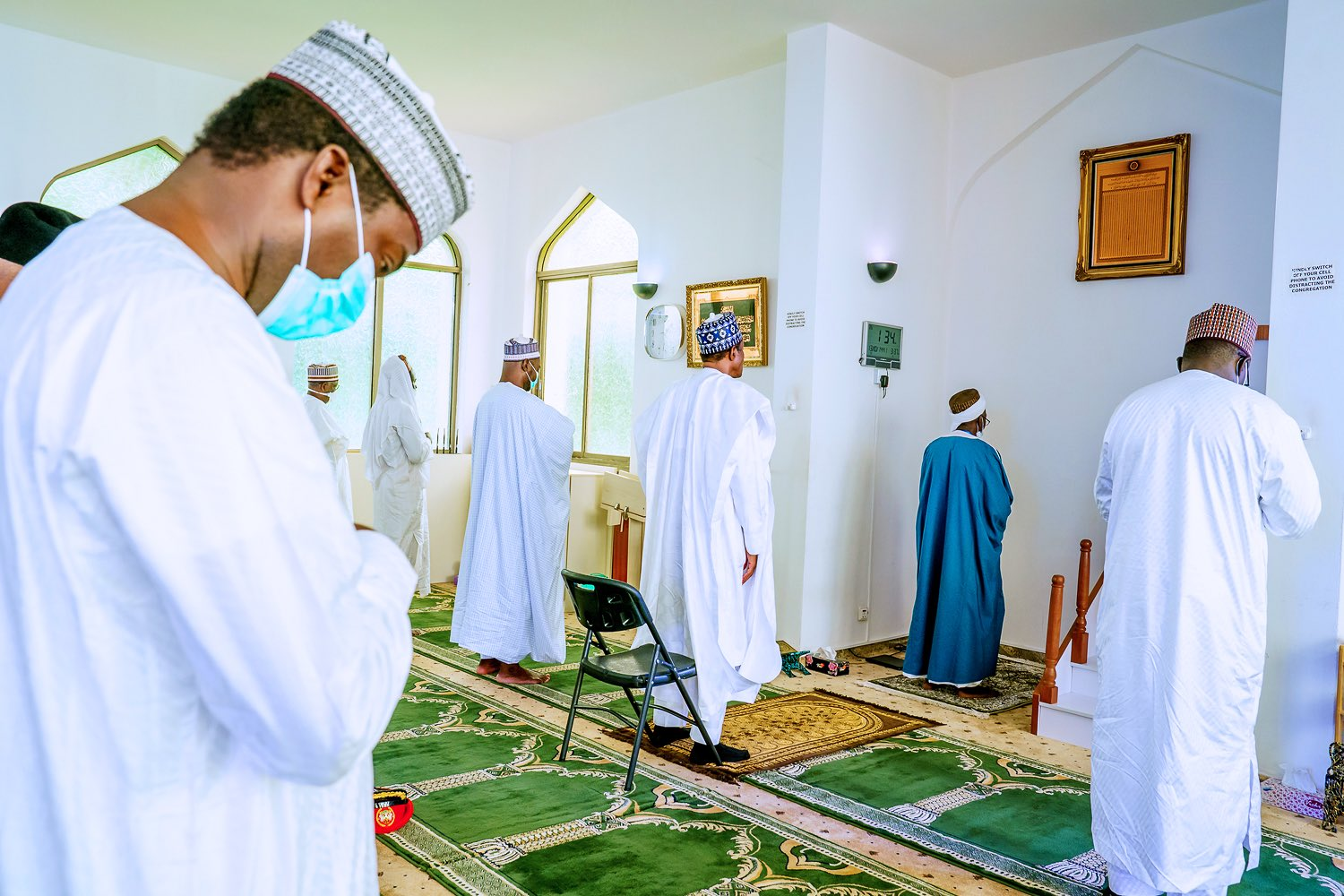 Juma'at prayers at the State House Mosque, Abuja this afternoon, President Muhammadu Buhari and other worshippers were in attendance.