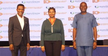 L-R) Lead Pastor, Godman Akinlabi; Director Media & Communications, Chinny Ugoji; and Pastor, Samson Isa; at a press conference announcing the 10th-anniversary celebration of The Elevation Church in Lagos yesterday.